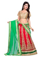 Indian Green And Red Mix Fabric Embroidered Party Lehenga