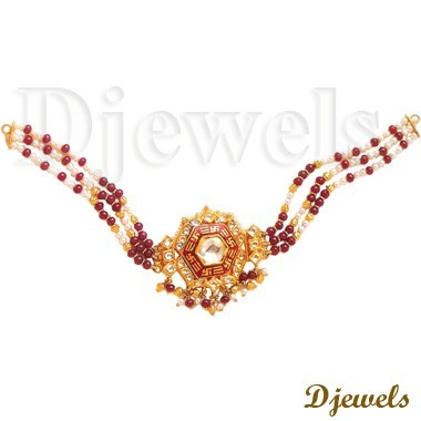 22K Gold Kundal Necklaces, 22K Indian Kundan Jewellery, Kundan Necklaces