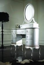 Provence french shabby chic finish silver wood dressing table with modern designs vanity table make-up table
