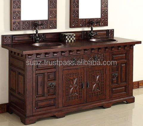 antique carved dark brown oakwood cabinet vanity for bathroom interior with short cabriole legs and 8 varnished teak wood