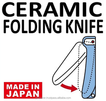 camping ceramic knife , light and handy , safety lock , stays sharp , won't rust , made in Japan