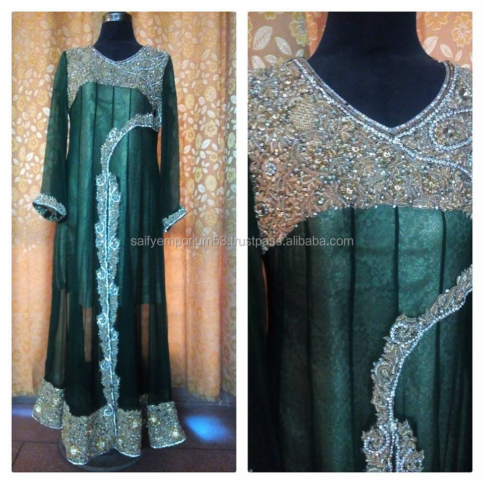 Bottle Green Colour Anarkali Long Frocks Golden Color Aari Zardosi Fully Loaded Work For Middle East Or European