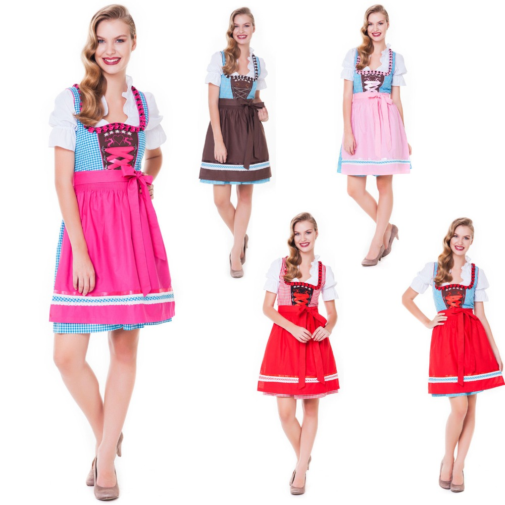 2015 Mini Dirndl with blouse and apron , Trachten Dirndl Dress , Traditional Bavarian