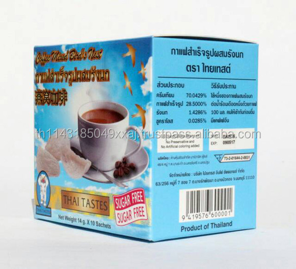 Natural Product Thai Tastes Instant Coffee Mixed Bird's Nest Sugar Free Healthy Coffee , High Quality With Proteins And Nutritio
