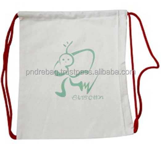 Green ECO bag cotton/Nylon with drawstring bag backpack tote packaging bag