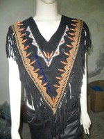 Vintage Suede Fringe Poncho/Cowgirl Poncho/Fringe & Beaded Western Indian Native American Style Suede Leather Poncho 322
