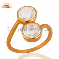 Handmade Matte Gold Plated 925 Sterling Silver Ring Wholesale Crystal Quartz Gemstone Rings Manufacturer Jaipur Silver Jewelry