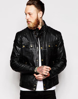 mens black leather hooded varsity jacket for 2013 winter for men from Pakistan