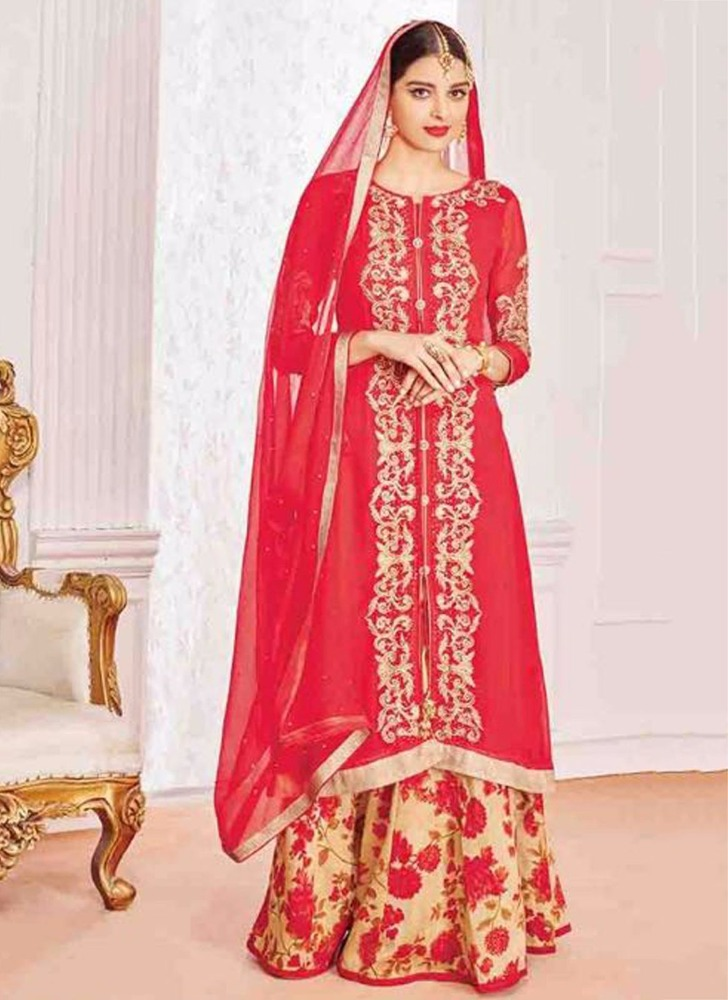 Red embroidered salwar kameez
