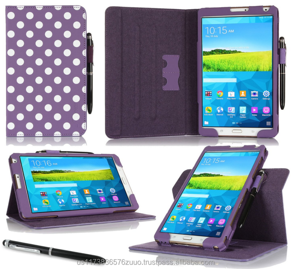 Dual View Slim Fit Premium PU Leather Folio case cover, detach inner sleeve for Galaxy Tab Pro 8.4 roocase (Dot Purple)