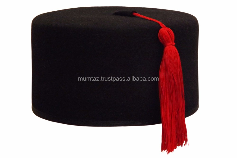 new style embroidery fez hats/New Style Wide Brim Felt Hat Garman Felt Fez Hat