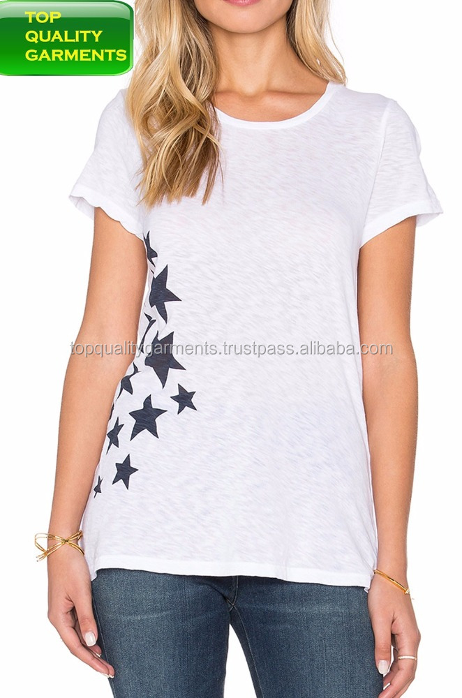Girls' White color Black stars Design TOP half sleeve outfit pure 100% cotton Tee pullover with no Collar O neck lo #331191215
