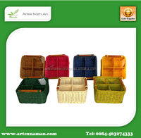 Square rattan Baskets with Compartment and Handles