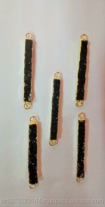 Natural Black Druzy Bar Connector, Wholesale Crystal Quartz Druzy Bar Rectangle Connectors