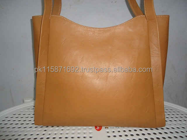 Genuine cow full grain leather tote bag