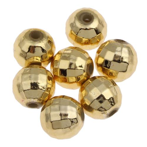Plating Acrylic Beads, Round, gold color plated, faceted, 8mm, Hole:Approx 1mm, Approx 1900PCs/Bag, Sold By Bag