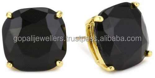 Black Onyx Beautiful Gemstone Stud Earrings Vermeil Gold