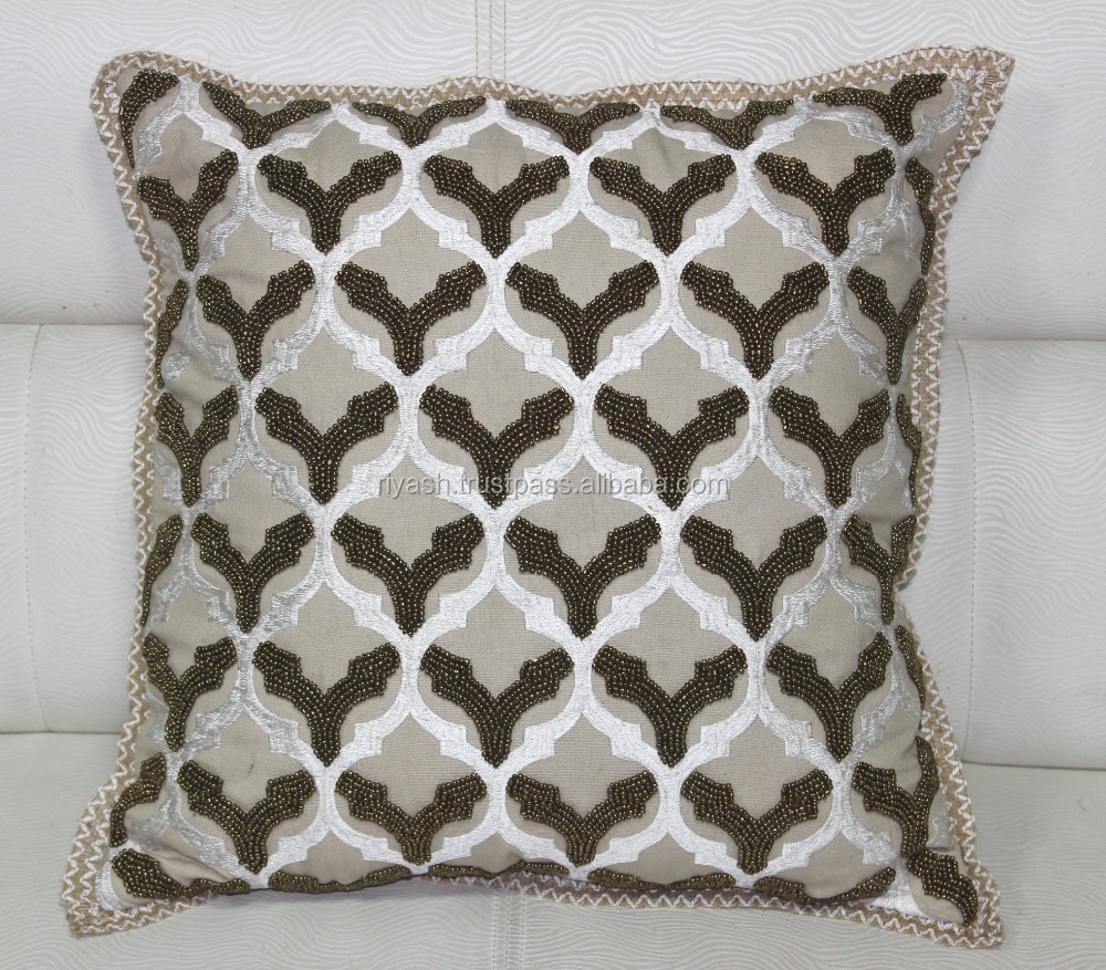 Cotton Threaded & Glass Beaded Handwork Embroidered Designer Cotton Cushion Cover with Jute Lace Trimmimgs - 45 Cm Sq.