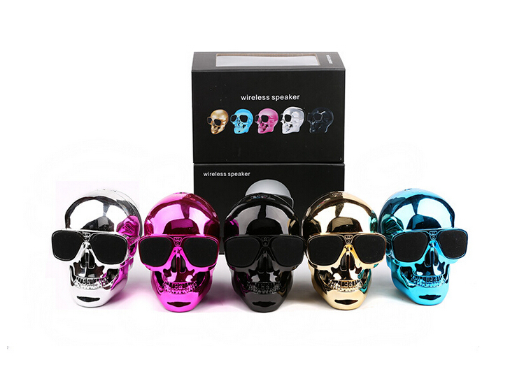 creative 3D skull head sun glasses NFC bluetooth 4.0 speaker with 1200mah power bank45W bulk price made in China
