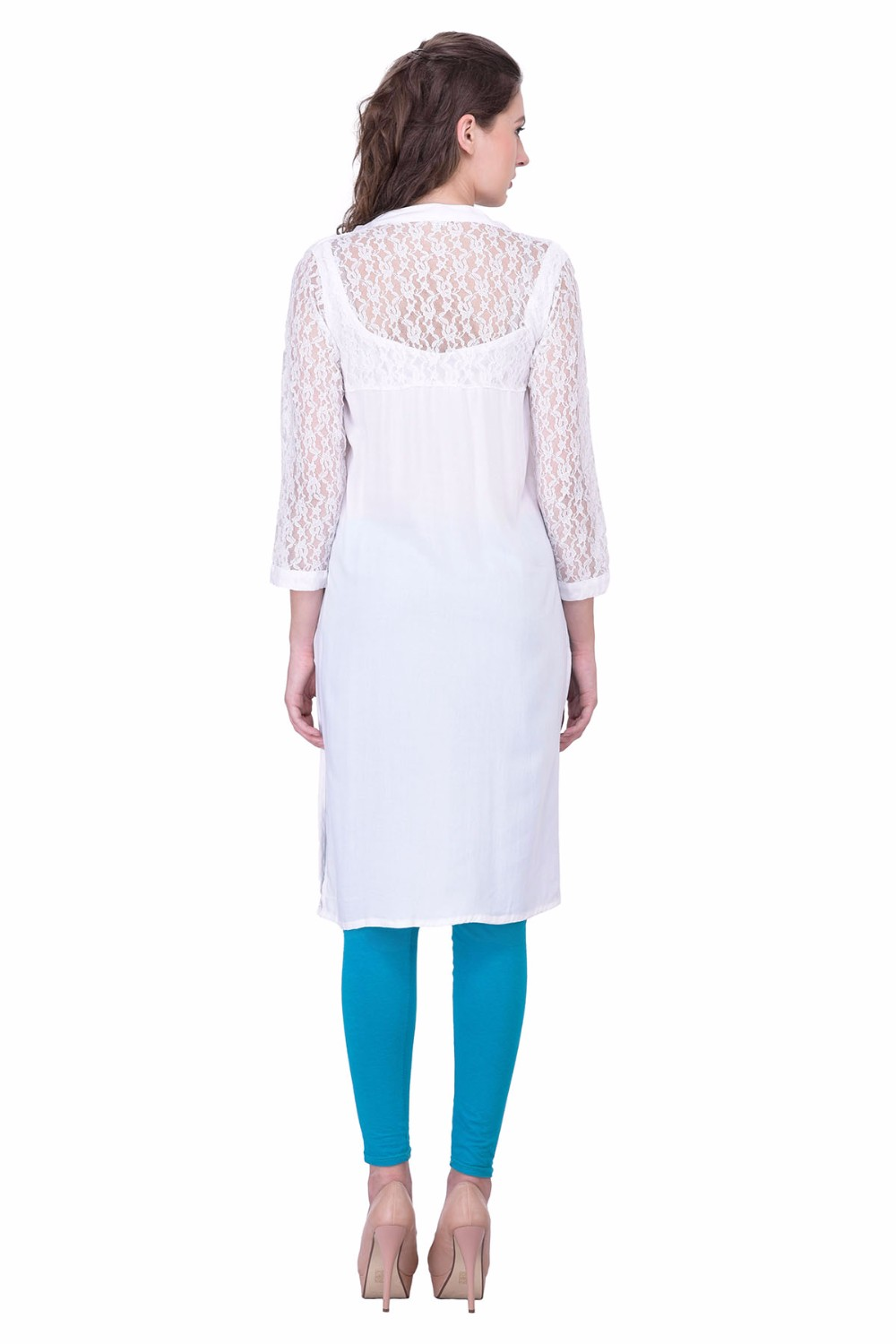 Floral Mesh Lace Dress Solid white Color Party wear Kurti Casual Dress Jaipuri Kurti Supplier Wholesale vestido	abito	robe