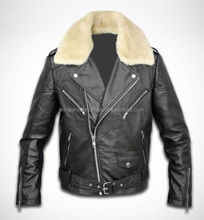 Leather Jacket Black NEW Men's Genuine Sheep Fur Sheared Collar