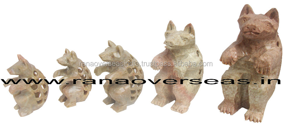 Soapstone Undercut Bears in different sizes, Table Top Home Decorative Soapstone Figurines