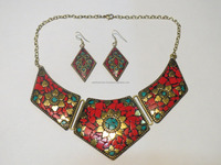 Processed Coral Fashion Jewelry Tibetan Style Mosaic work Statement Necklace and Earrings