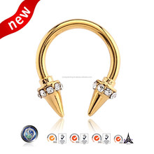 Body Jewelry Septum Clicker Body Piercing Jewelry 316L Stainless Steel Gold Plated Circular Septum Ring