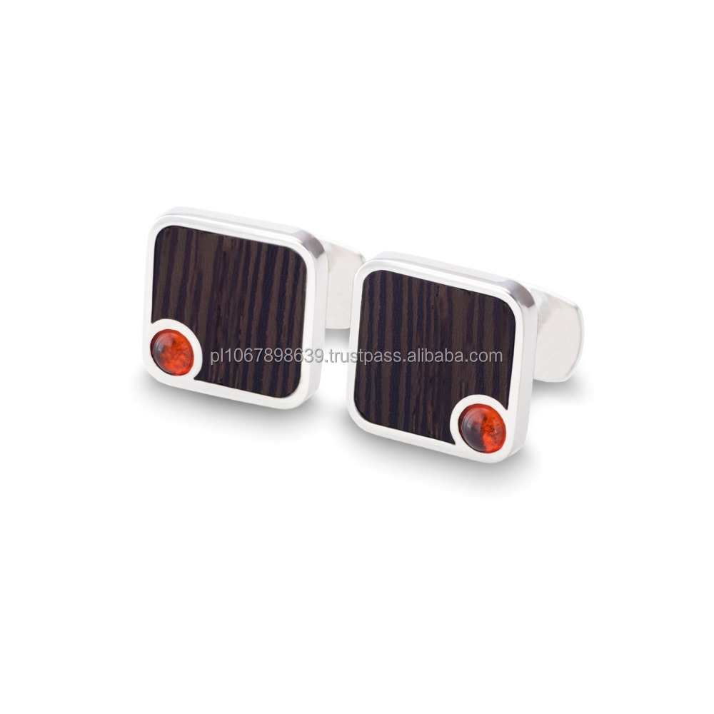 Elegant cufflinks with 925 silver, Baltic Amber and exotic Wenge/Mahogany wood