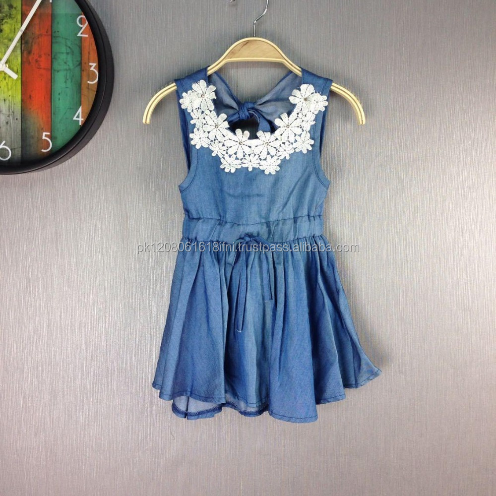 kids cute baby girls jeans outfit dress with lace design