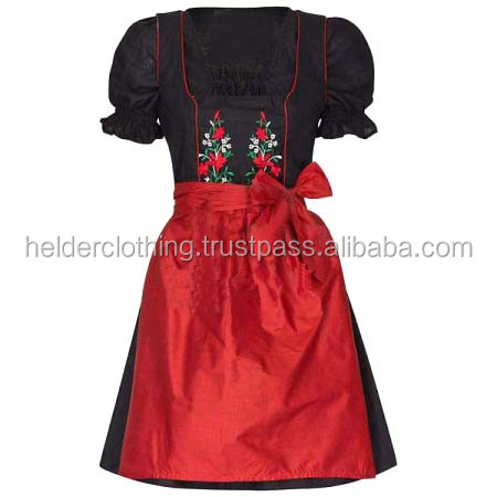 1pc Black Embroidery Dirndl Custom Design Trachten Oktoberfest Bavarian Traditional Dirndl Dress For Women