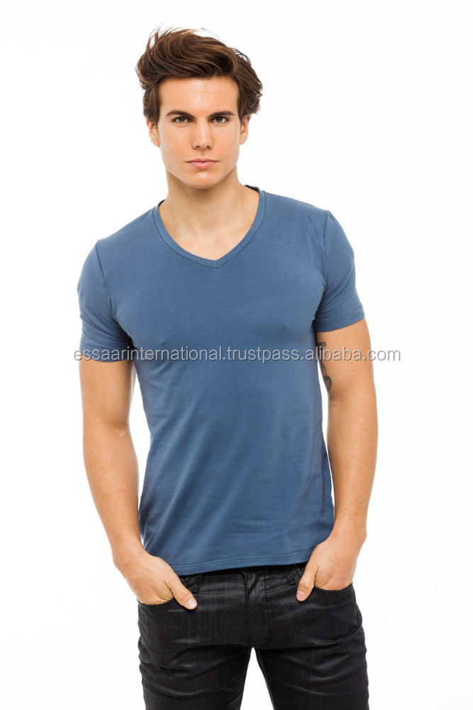Latest style 100% cotton v neck t shirts wholesale cheap men plain extended t shirt t shirt for men