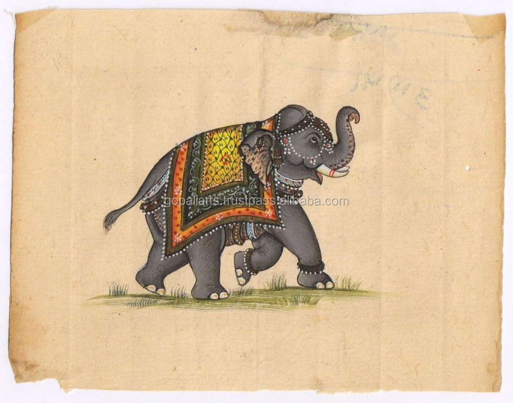 Miniature Art Painting Indian Handmade Elephant Painting Original Water Color Ethnic Painting