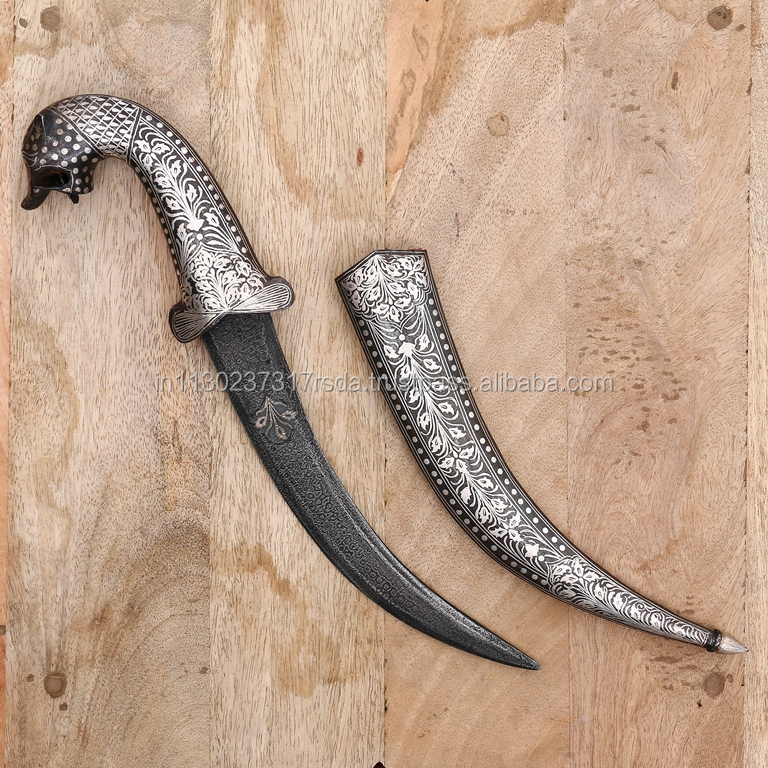Large Tiger Face Dagger Knife Sheath Blade Silver Finish Damascus khanjar Sword Home Decor