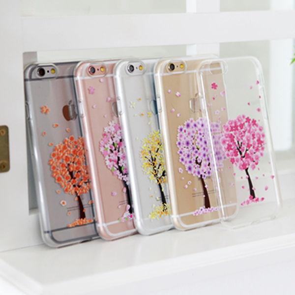 00859 For iPhone 6/6S/6 Plus/6S Plus/LG G4/G3_Flower Tree Jelly_Smart Cellular Mobile Phone Case Cover Casing
