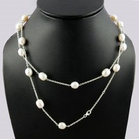 Magnificent Fresh Water White Pearl 925 Sterling Silver Necklace, Semi Precious Stone Silver Jewelry, Unique Silver Jewelry