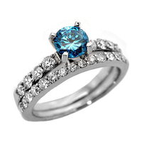 Gorgeous Real Natural 1.50Ct Blue Diamond Wedding Ring with Matching Band in 14k White Gold @ Factory Price