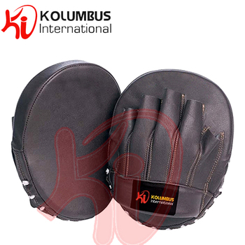 Curved Focus Mitt In Leather, Black Focus Pads In Small Size,