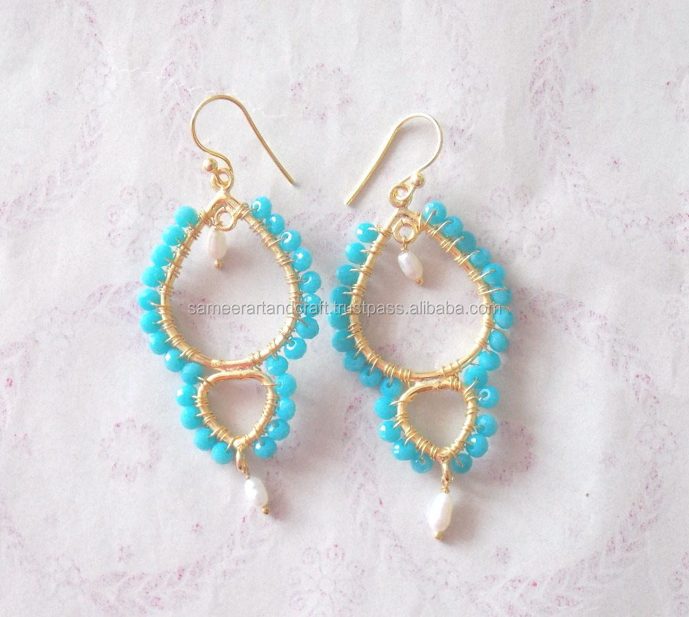 925 Sterling Silver Wire wrapped Turquoise Gold Plated Jhumka Earring