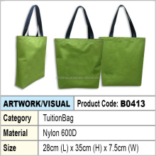 Green Nylon tuition bag / shopping tote bag