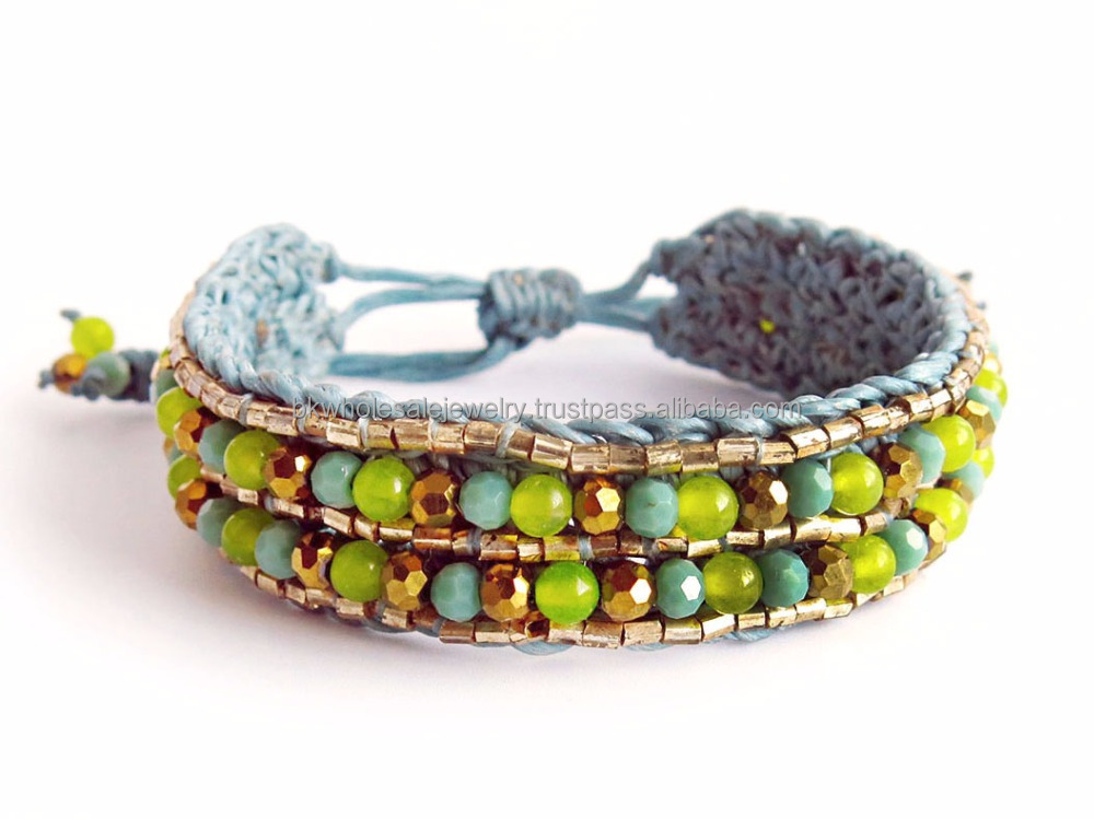 MMBR399A002 Handmade in Thailand Handwoven Beaded Leather Wrap Bracelet Boho Fashion Jewelry Semiprecious Stone Summer 2017