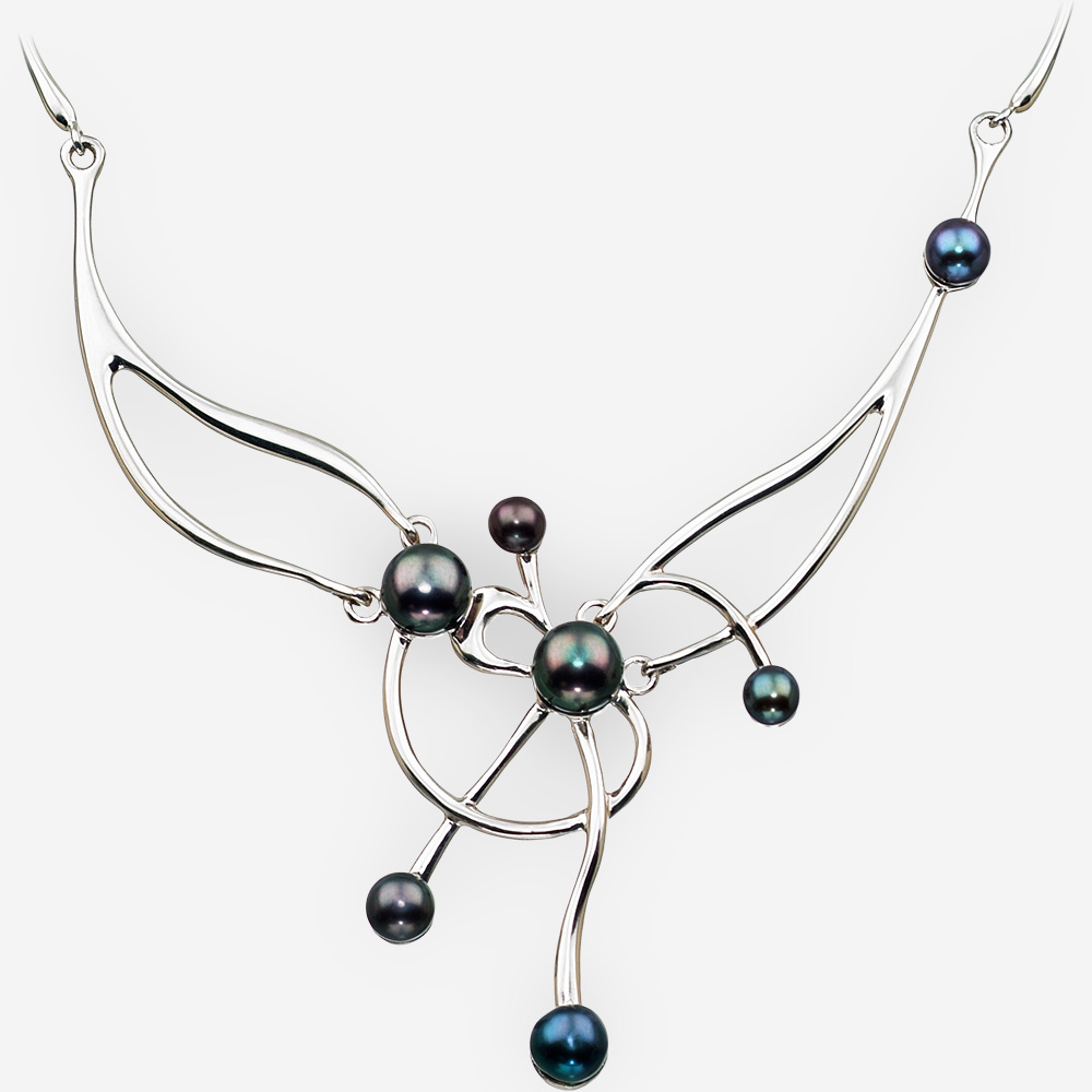 Asymmetrical Necklace in Sterling Silver with Black Pearls