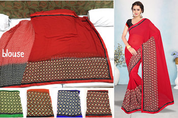 Shivani -6 weightless border attached banglori red saree
