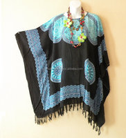 Black Blue Plus Size Abstract Batwing Batik Caftan Kaftan Tunic Blouse Top - XL, 1X, 2X, 3X