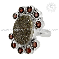Jewelry Fashion 925 Sterling Silver Druzy & Garnet Ring Asian Custom Indian Silver Jewellery Exporter