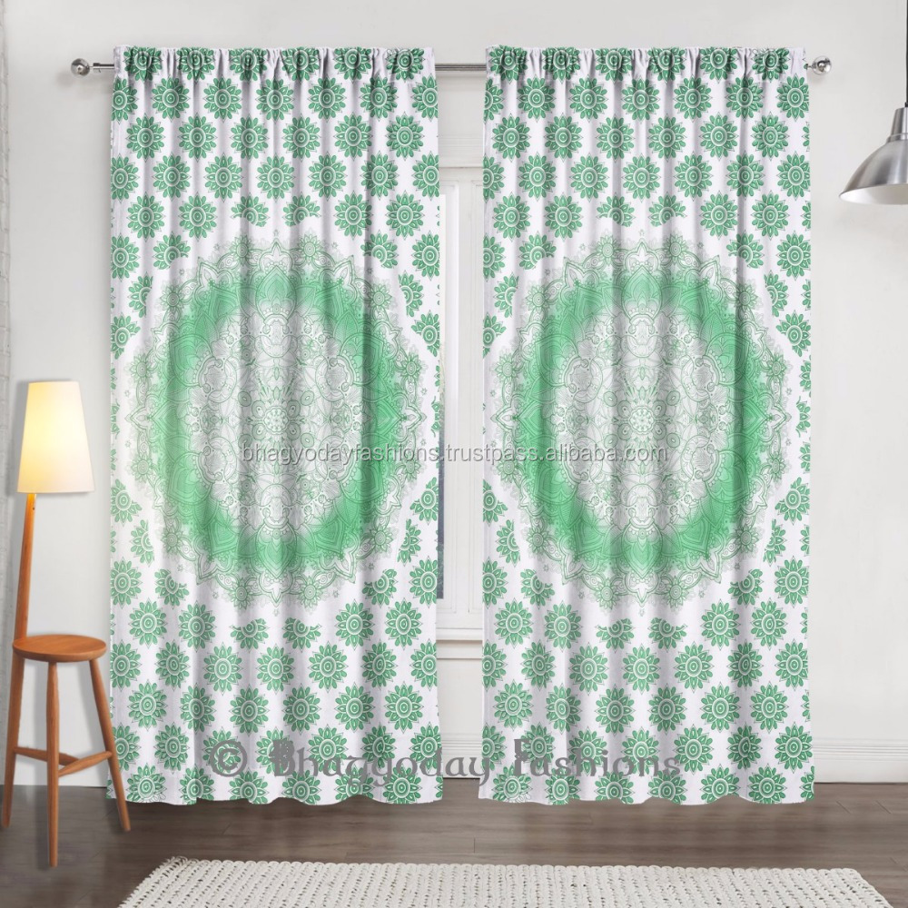 Indian Cotton Tab Top Curtains Window Cover Room Divider Tapestry Door Valances Drapery