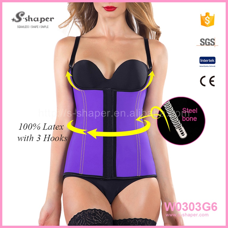 High Quality Online Shopping Wholesale Sexy Latex Waist Trainer Body Shaping Vest W0303G6