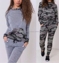 New Ladies Women's Army Print Design 2 Piece Track Suit