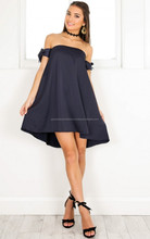 Latest Collection Polyester Navy Off Shoulder Tied Shift Dress