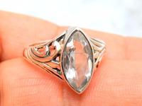 Crystal Quartz Nice Gemstone silver ring 925 sterling , silver jewellery